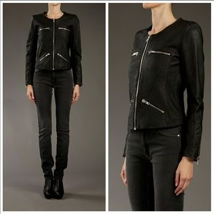 IRO Black 100% Lamb Leather Biker Jacket  S